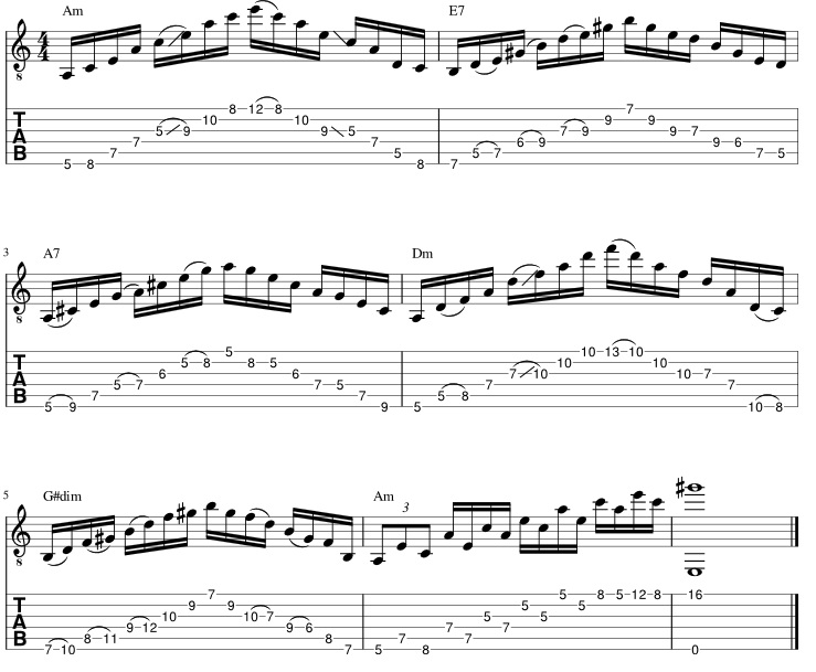 Eugene's Trick Bag - Crossroads - arpèges tablature