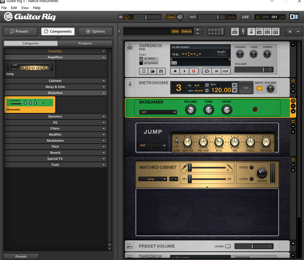 Le logiciel Guitar Rig