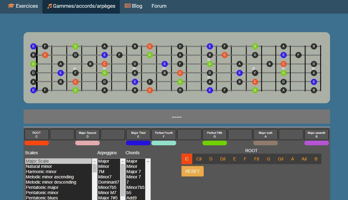 L'outil proposé par guitar-trainer.fr pour générer les gammes, accords et arpèges