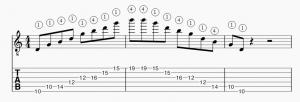 Arpege G majeur position 2 horizontale