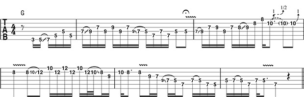 Tablature plan en SOL majeur pentatonique 1 - Eric Clapton (tiré de guitar-world.com)